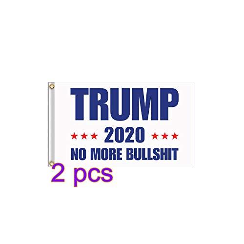Happyshop 18 2 Stück Trump 2020 Flagge, Donald Trump für den Presidenten Bedruckte Flagge, Trump 2020 No More Bullshit Fahne zum Aufhängen, 3 x 152 cm