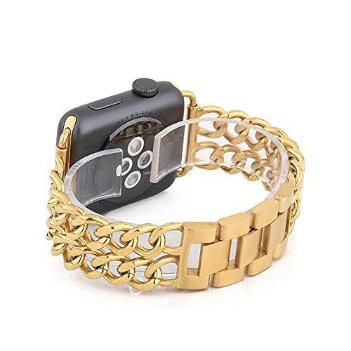 LANGY roestvrij stalen armband voor Apple Watch 5 4 40 mm 44 mm armband, geschikt voor Iwatch Series 3 2 38 mm 42 mm armband, for 38 MM, goud