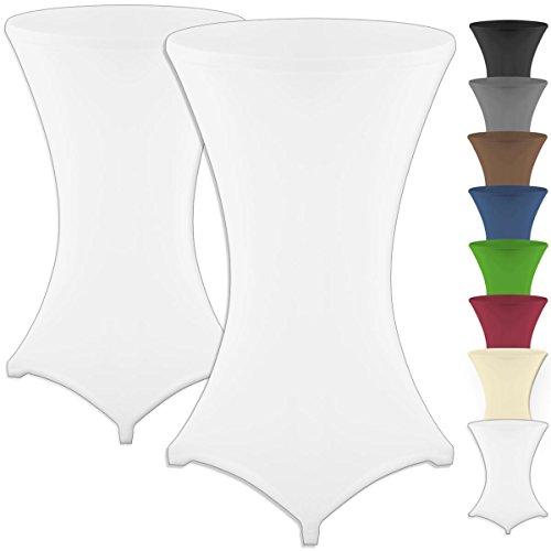 Grafenstayn® Diana Set de 2 Fundas elasticas para mesas Altas de pie tamanos para un diametro de Mesa de Ø60 cm • Ø70 cm • Ø80 cm - con Öko-Tex Standard 100 (Blanco, Ø 80)