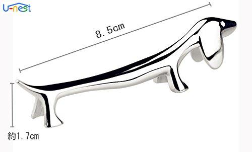 【U-NEST】オシャレかわいいダックスフンド型金属ナイフレスト人気犬箸置きセットメッキ加工(6個セット)