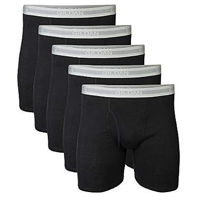 Gildan Men's Regular Leg Boxer Brief Multipack, Black (5 Pack), Large by Gildan