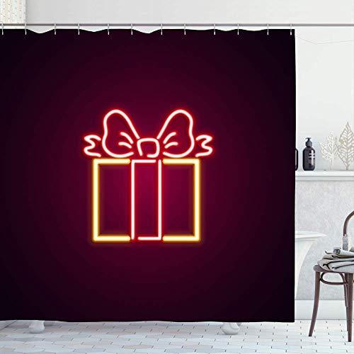Duschvorhänge,Grüne Plakatwand Jahr Weihnachten Geschenkbox Neon Holidays Tree Xmas Rot Open Club Craft Electric Emblem Premium Badevorhänge