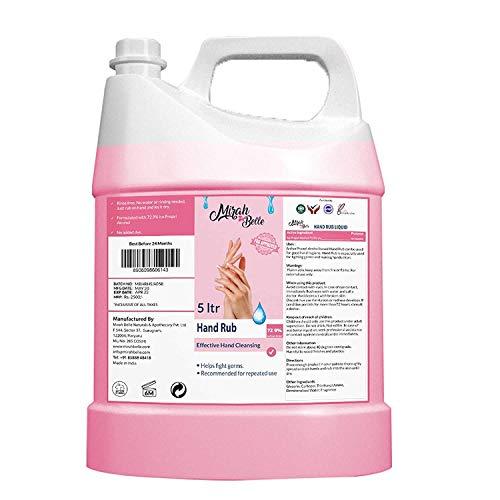 Mirah Belle - Hand Rub Sanitizer Liquid (5 Ltrs) - BUY 2 GET 20 MASKS - Vegan,Natural, Herbal - Best for Men, Women and Children - Hand Santizer Cleanser Refill Pack