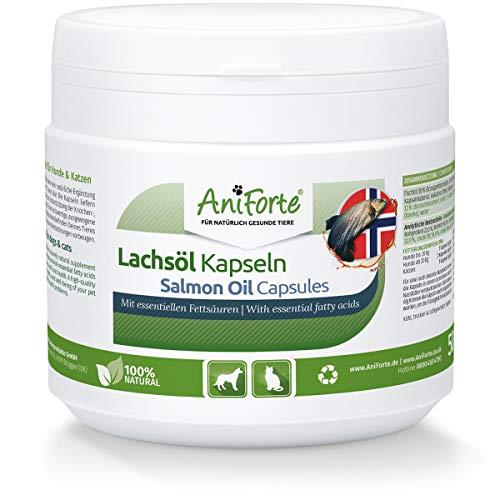 AniForte Omega-3 Capsule di Olio di Salmone per Cani e Gatti 500 Capsule - Natura Pura, ottimizza Il metabolismo, prezioso per la Formazione delle Ossa, la costituzione e Il Mantello Lucido