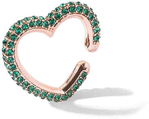 Boemia Ear Cuff per donna Multicolor impilabile a forma di cuore con strass Earcuffs Clip orecchini di cristallo gioielli