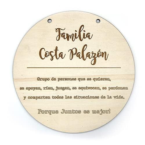 Cartel Cuadro colgante de madera personalizado con nombre familiar, decoraciones de pared o puerta vintage, lamina decorativa guirnalda (Castellano)