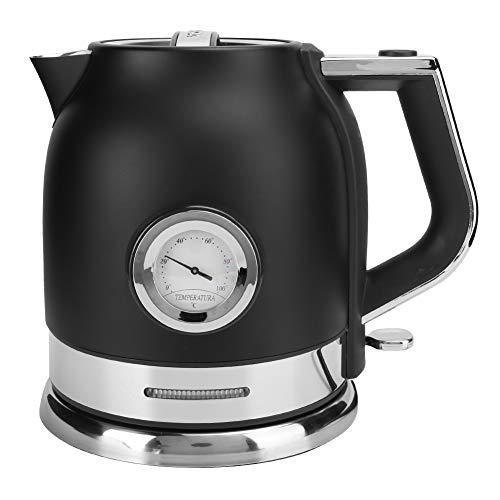 Bollitore con termometro, bollitore per acqua calda, in acciaio inox nero, per presa UE 220-240 V Home