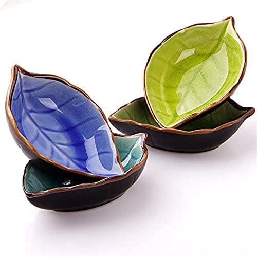Japanese Leaf-shaped Dish Tableware Ceramic Small Dish Taste Dish Kitchen Vinegar Sauce Seasoning Dish Bone Dish Soy Sauce Dish Vegetable Dish Snack Plate