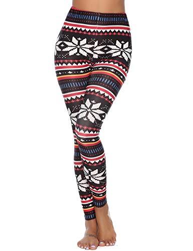 Abollria Damen Weihnachten Leggins Dünne Glanz Strumpfhosen mit Norweger Muster Stretch Pantyhose