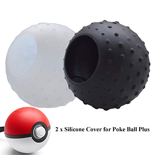 Skin Cover Kompatibel mit Nintendo Switch Poke Ball Plus Controller, Hikfly Silikon-Pokeballgriff mit Stdus-Hülle Tragbares Zubehör für Pokémon Lets Go Pikachu Eevee Game (Pack 2, Black White)