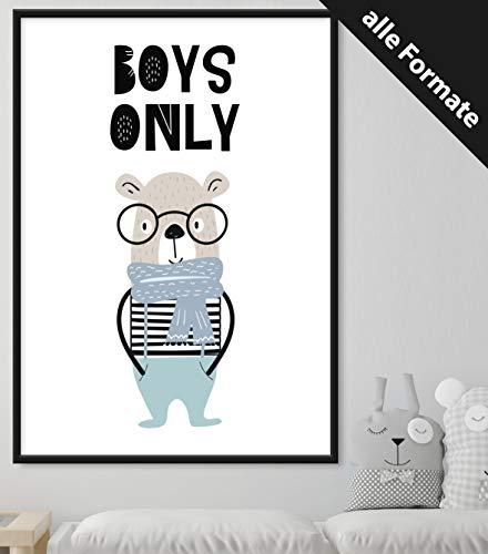 Papierschmiede Kinderposter | DIN A4 | Wanddeko fürs Kinderzimmer | Jungen Mädchen | Bilder für den Bilderrahmen | Boys Only