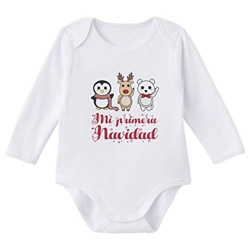 SUPERMOLON Body bebé manga larga Mi primera Navidad Blanco algodón para bebé 0-3 meses