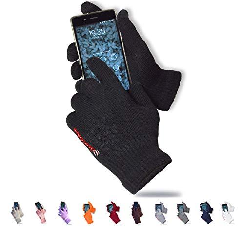 axelens Touch Screen Winter Handschuhe Laden Damen Mann Warme Fleece Futter Innenwind für Tablet Smartphones Telefon Handy Outdoor Sports - SCHWARZ