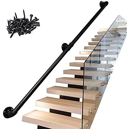 Wxwxin Stair Handrail Black Metal Forjado Hierro Forjado Pasadores de pasamanos para Pasos al Aire Libre para Pasos de Interior/exteriores-550cm / 18 pies