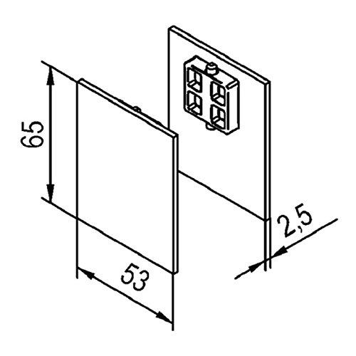 Afdekkapjes voor aan het plafond voor solido 80, aan beide zijden hout, roestvrijstalen effect. 1 paar.