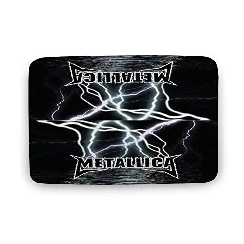 Cheyan Rock Band Metallica - Felpudo de terciopelo de coral personalizado antideslizante para interiores (45,7 x 23,6 cm)