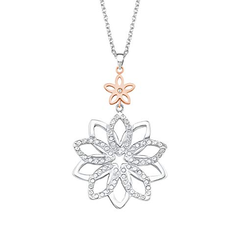 s.Oliver Damen Kette 72+5cm mit Anhänger Blume Edelstahl veredelt mit Kristallen von Swarovski