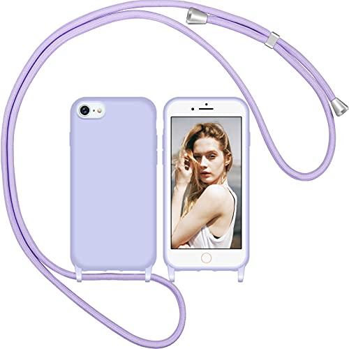 Nupcknn Liquid Silikon Handykette Hülle für iPhone 7/8/SE 2020 Hülle Necklace(abnehmbar) Hülle mit Kordel zum Umhängen Handy Schutzhülle mit Band (Lila)