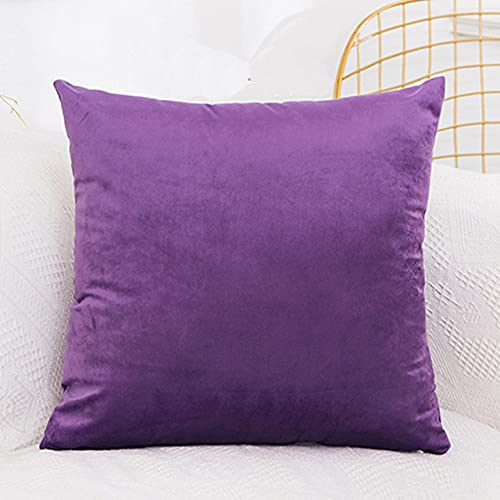 SDCVRE Funda de Almohada Cushion Cover Solid Color Decorative Pillowcases Sofa Bed Pillow Cases Luxury Christmas Cushion Pillow Cover,Purple