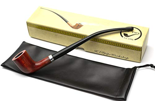 KAFpipeWorkshop Wooden Tobacco Smoking Pipe Churchwarden from Pear Wood with Long Acrylic Stem, Gift Box, Pipe Pouch (Ukraine)