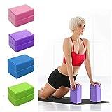 SUIYUE 2 Ladrillos de Espuma EVA Pilates, Bloques de Yoga de Alta Densidad, livianos y Antideslizantes, utilizados en gimnasios, Equipos de Estiramiento de Postura para profundizar en el hogar (Azul)