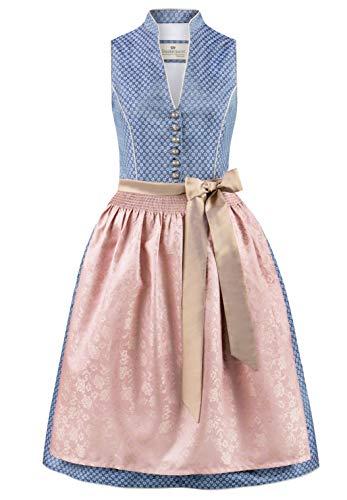 Stockerpoint Damen Dirndl Melinda Kleid für besondere Anlässe, blau-Taupe, 44