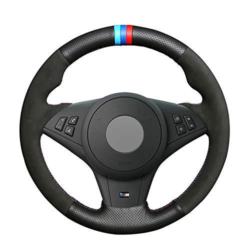 YJLC Für Hand Nähen Auto Lenkradbezug Für BMW E60 M5 2005 2008 E63 E64 Cabrio M6 2005 2010,Blue