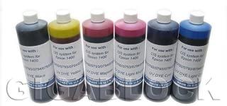 Gigablock UV Dye based 6 Bulk Pint(470ml) inks of Refill Ink Set for CIS System Epson Stylus Photo 1400 and 1410 - Made in USA