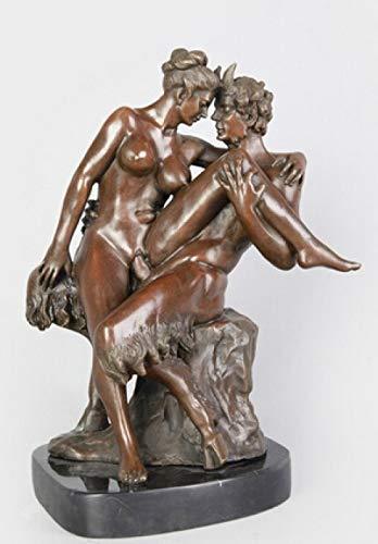 ZHAOHAONB Estatua Artesanía de Bronce de Bronce Medalla de Bronce de Eros asiática con Sutter de Cabra de Joven Belleza Vestida como una Estatua de Perilla