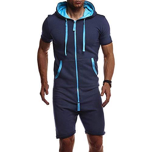 Vertvie Herren Kurze Jumpsuit Sommer Overall Jogginganzug Trainingsanzug Sommerjumpsuit Freizeitanzug Sommeranzug Sportanzug mit Taschen Tunnelzug(Blau, L/Tag XL)
