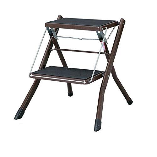 2 Passaggio di feci Stepladders Leggero piegante Bianco Scala a pioli con Impugnatura Antiscivolo Robusta e Wide Pedal Steel Ladder Mini-Stool (Color : Marrone)