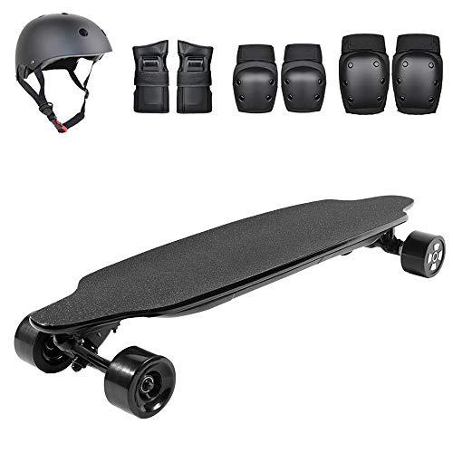 SSCYHT Elektrisches Skateboard Mit Schutzausrüstung, Höchstgeschwindigkeit 40 Km/H, Reichweite 30 Km, 1200-W-Doppelmotoren, Fernbedienung, Extrem Glattes Motorisiertes Longboard