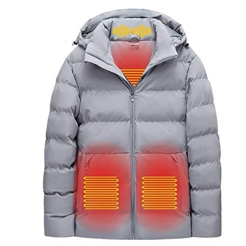 Yeah-hhi Chaquetas térmicas de invierno con USB, calentador térmico con capucha, abrigo de algodón con masaje de cuello, para deportes al aire libre, camping, senderismo, caza, gris, XL