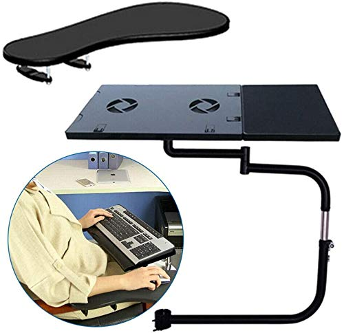 HYE-Table Keyboard and Mouse Wrist Rest Tray | 2-Piece Set Chair Armrest | No Screws into Desk Easy to Install | Computer Cooling function
