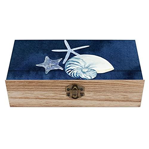 Seashell Beach House - Caja de madera decorativa de nautilus de coral azul marino, caja de regalo para el hogar, caja de té de almacenamiento de 19 x 9 x 6.3 cm