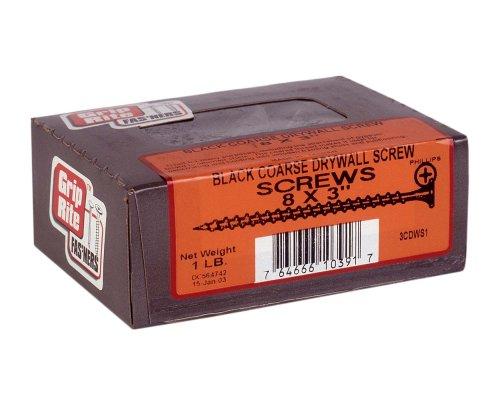 Grip-Rite 3CDWS1 3-Inch 9 Coarse Thread Drywall Screw with Bugle Head, 1 Pound