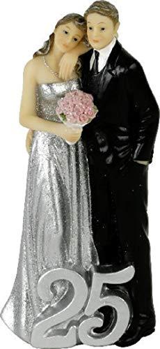 Home Collection Accesorios Fiesta Boda Estatua Decorativa XL para Tartas Aniversario Plata 25 Años