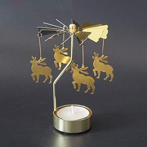 SMXGF Go-round Cat Kandelaar Rotating Romantic Spin Carousel thee licht kaars houder Kerstboom diner bij kaarslicht Decor van het Huis (Color : Reindeer Elk Moose)