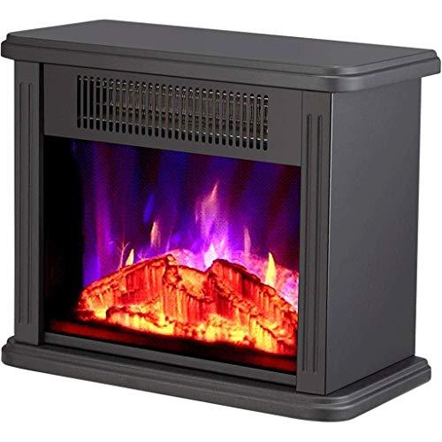 XHHWZB Startseite Heizung, Kamineinsatz, Einbau Builtin & freistehender Kamin Heizung LED justierbare Flamme mit brennendem Kamin (Color : Black)