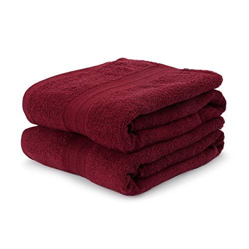 Lumaland Premium 2er Set XXL Badetücher Handtücher Frottee 100 x 150 cm aus 100% Baumwolle 500 g/m² mit Aufhänger Kirsch