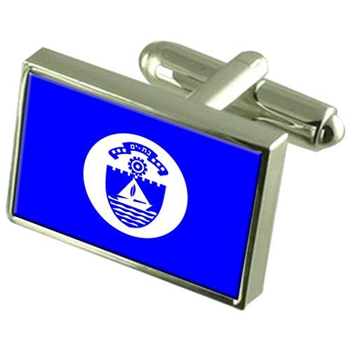 Select Gifts Bat Yam Stadt Israel Flagge Sterling Silber Manschettenknöpfe graviert Box