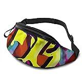XCNGG Bolso de la cintura del ocio bolso que acampa bolso del montañismo Yellow Graffiti Fanny Packs for Women and Men Waist Bag Adjustable Belt for...
