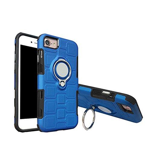 Haiqing Armor - Funda de protección 2 en 1 con soporte giratorio para el dedo con soporte, soporte magnético para coche, compatible con iPhone 6, iPhone 7, iPhone 8, color azul