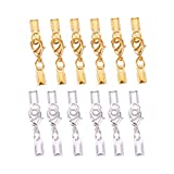 PandaHall Elite 60 Sets Brass Lobster Claw Clasps with Fold Over Cord End Caps 33x5mm for Jewelry Making 2...