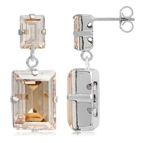 Córdoba Jewels   Pendientes en plata de ley 925 con cristales by Swarovski con diseño Square Lux Ámbar Swarovski Silver