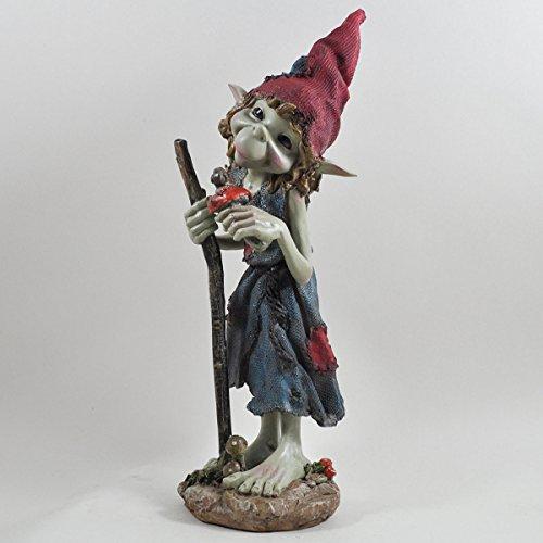 Pixie Grande sculpture sur pied avec bâton et figurine mystère magique Décoration de jardin elfe et fée pour enfants Hauteur 33 cm
