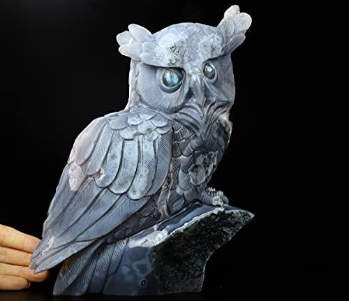 Skullis 9.9' Amethyst & Agate Carved Crystal Owl, Crystal Healing
