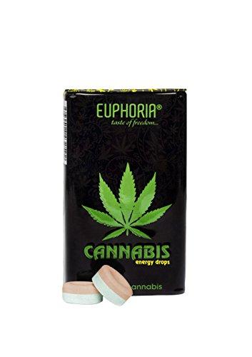 Euphoria Cannabis Energy Drops (25 g) | Zuckerfreie - mit Koffein und Taurin - Zitronengeschmack - Hanfgeschmack
