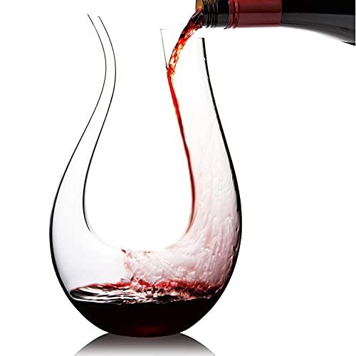 Cooko Decanter per Vino , Caraffa per Vino Soffiato a Mano, Bicchiere di Aerazione Senza Piombo, Aeratore Decantatore per Rosso, Accessori per Vino 1500 ml