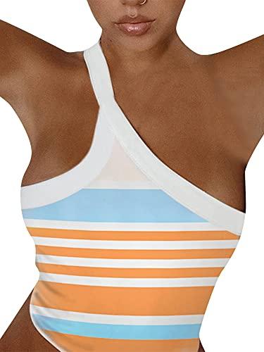 ZZLBUF Camisola de un hombro para mujer, elegante estampado sin mangas